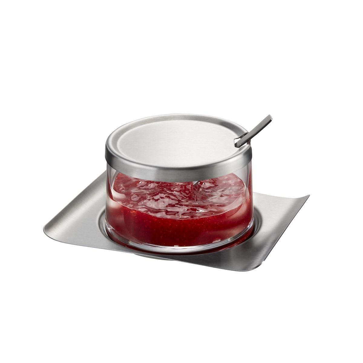 Pot à confiture en verre argent