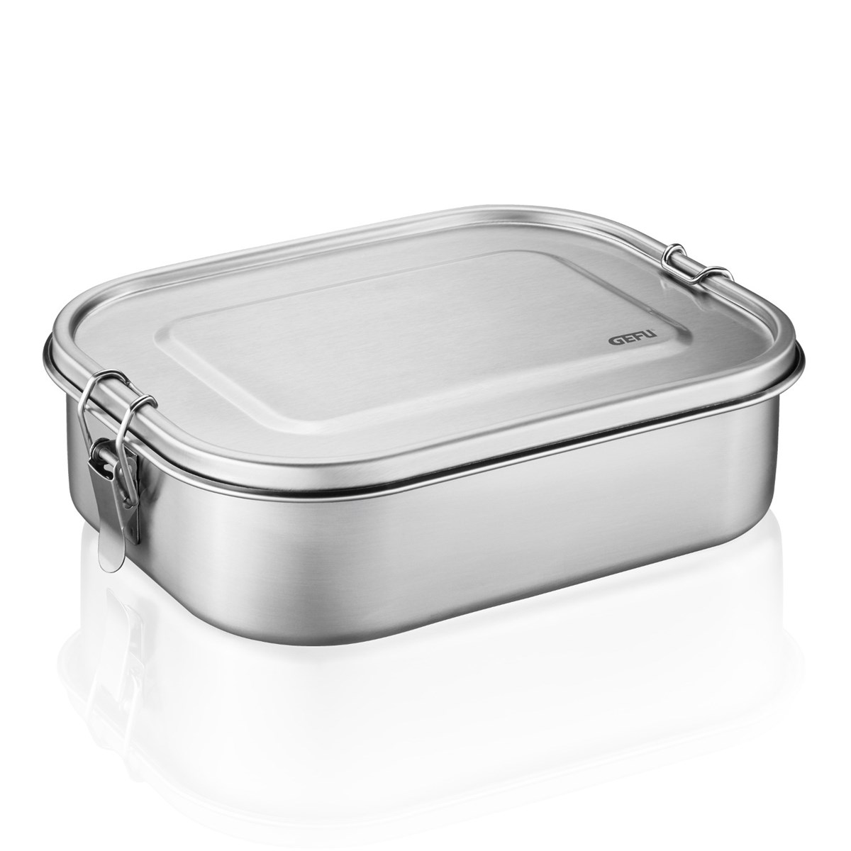 Lunch box grande en acier inoxydable argent