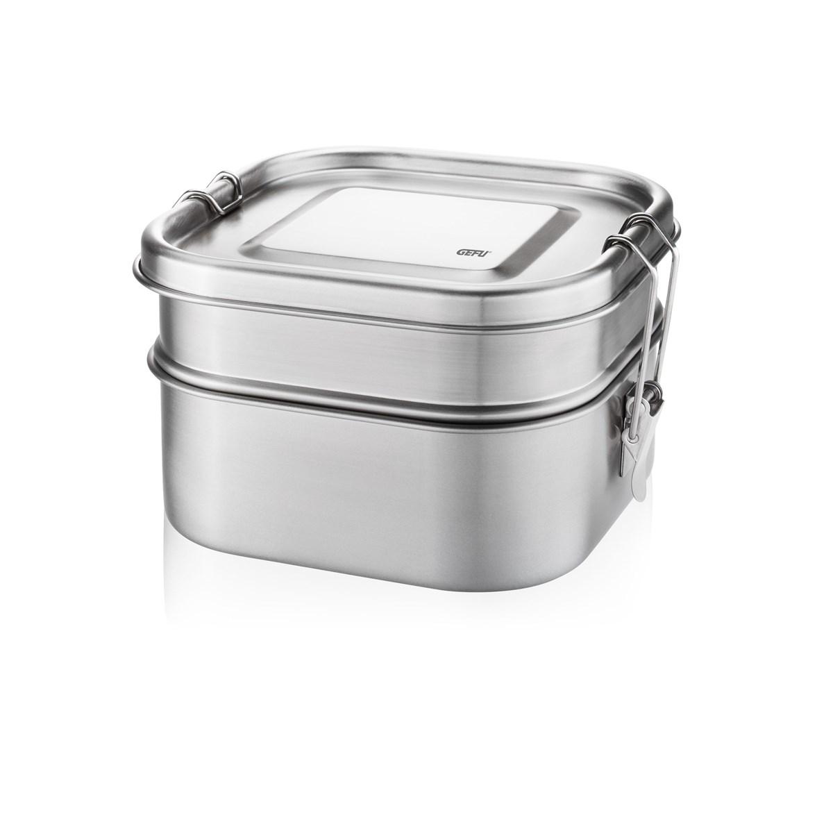Lunch box double étages en acier inoxydable argent