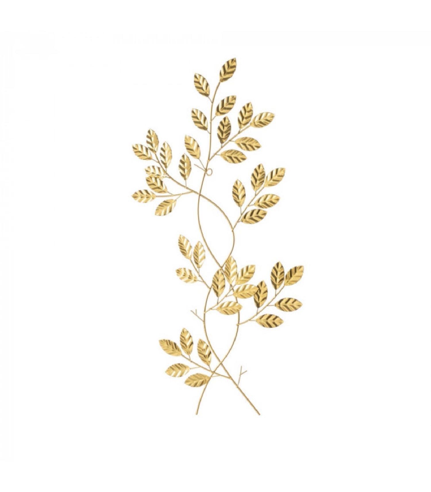 Décoration murale branches en métal doré 33x60cm