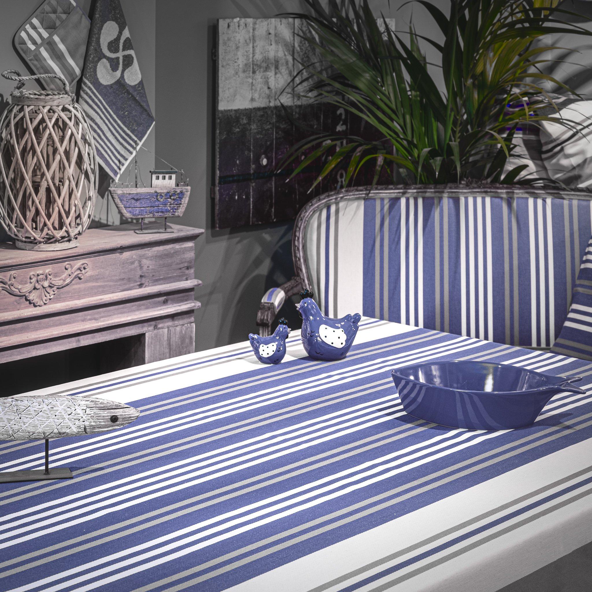 Nappe anti taches 100% Coton de satin bleu 350 x 160cm