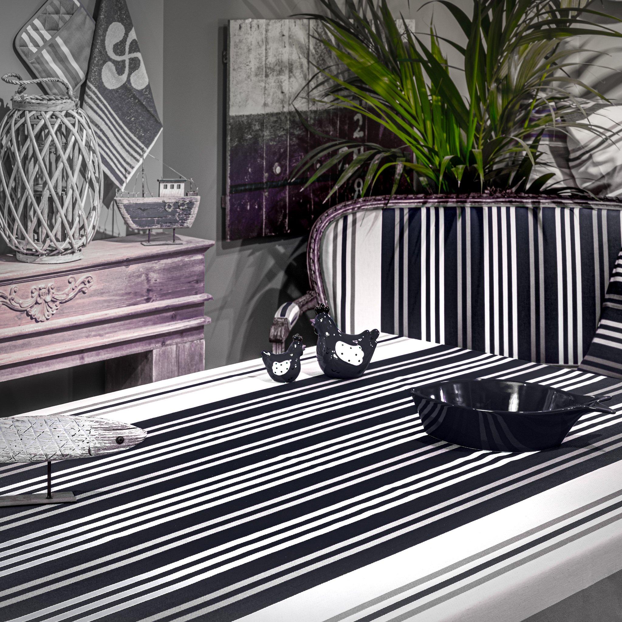 Nappe anti taches 100% Coton de satin noir 350 x 160cm