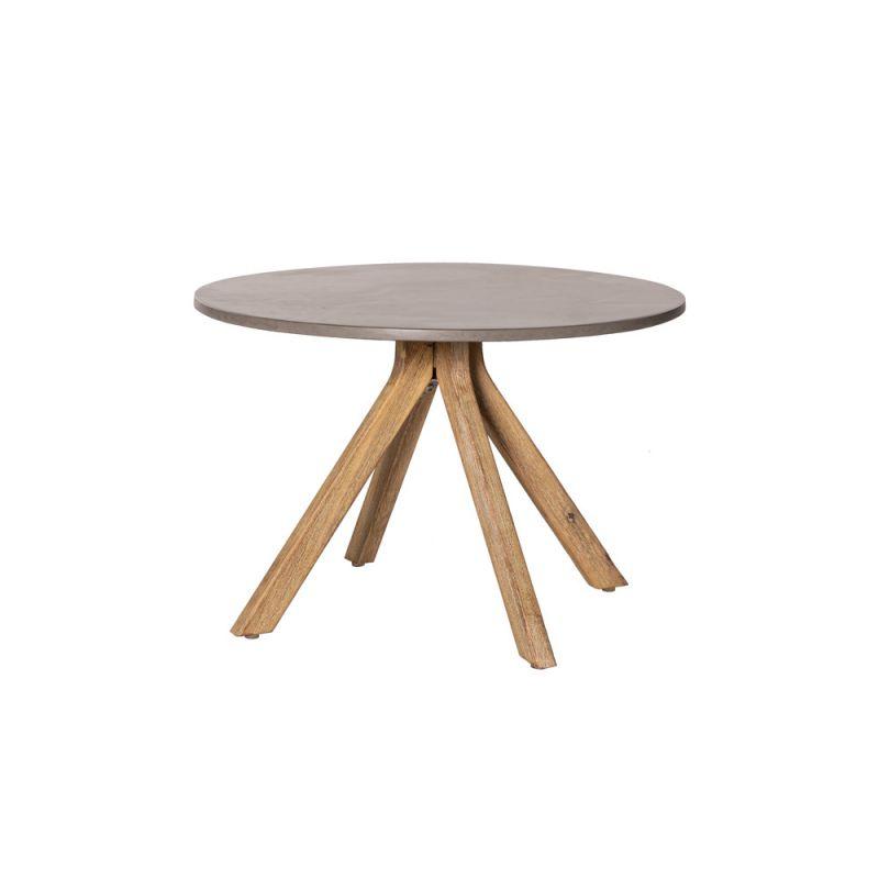 Table basse en bois ronde 40 cm gris