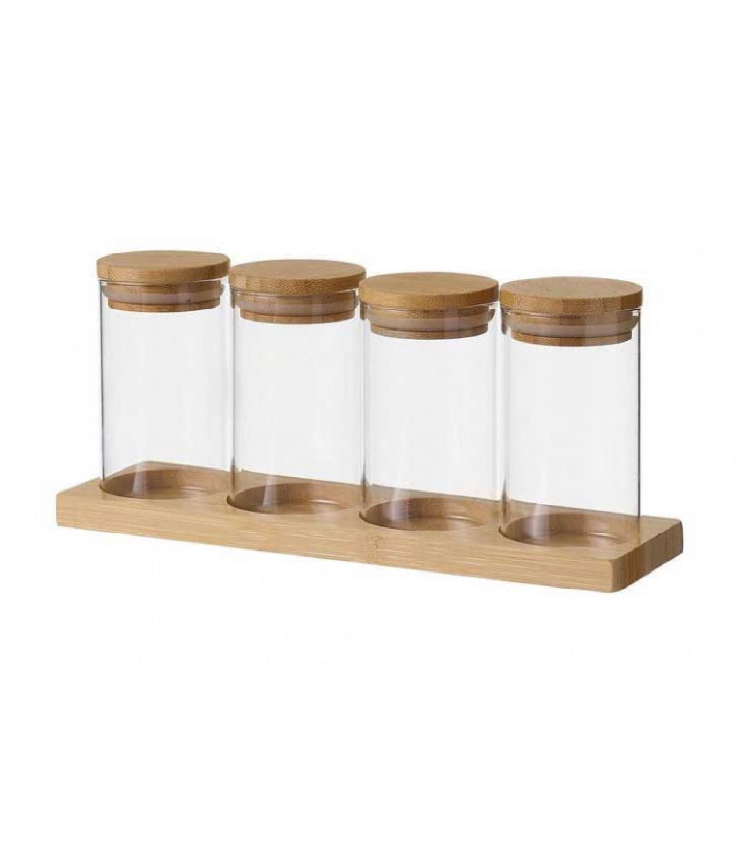 Set de 4 pots à épices en verre et plateau en bambou