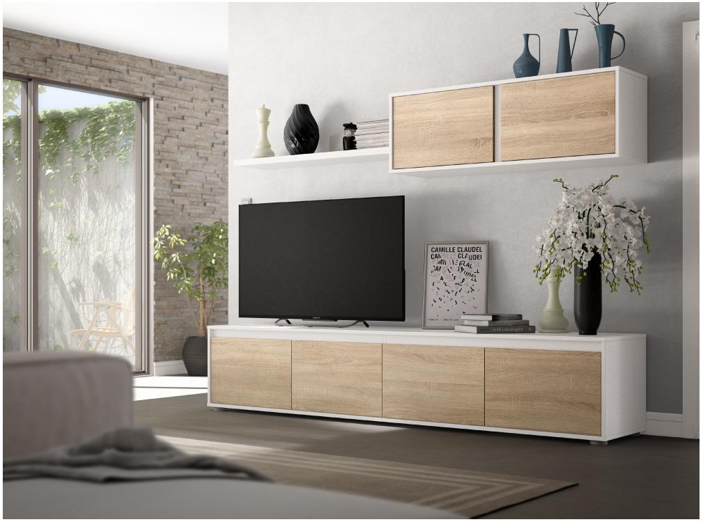 Meuble TV blanc/bois 4 portes avec étagère murale L200cm