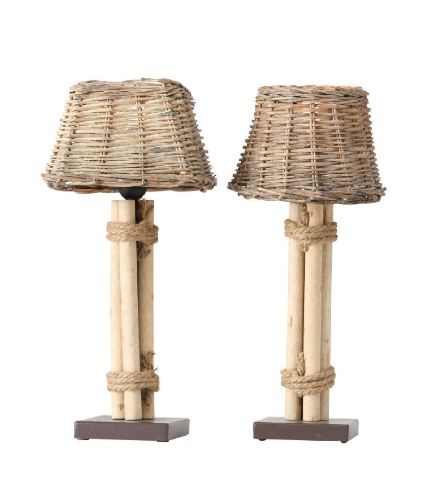 Set de 2 lampes à poser abat-jours bois esprit bord de mer