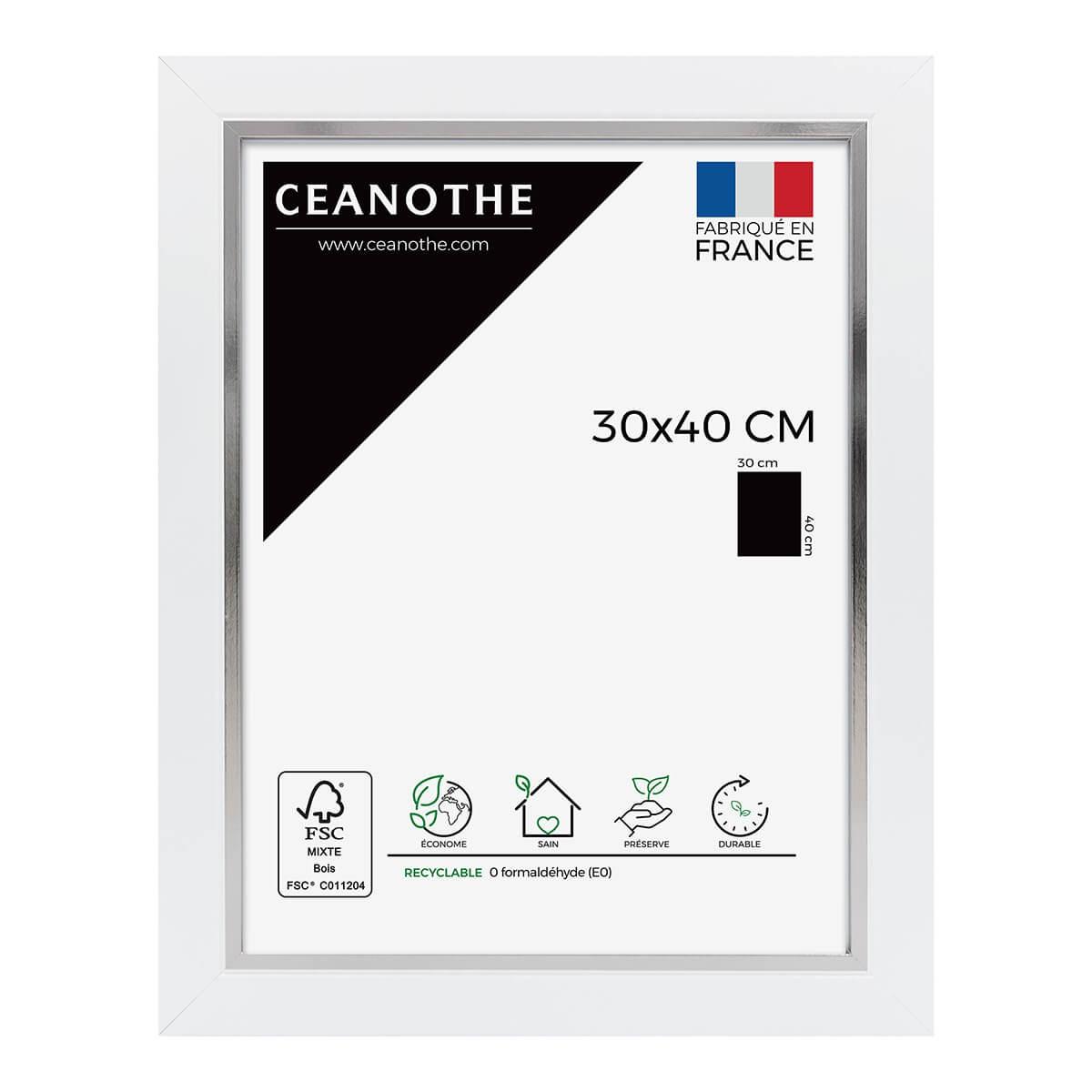 Cadre photo bois blanc acier 30x40 cm
