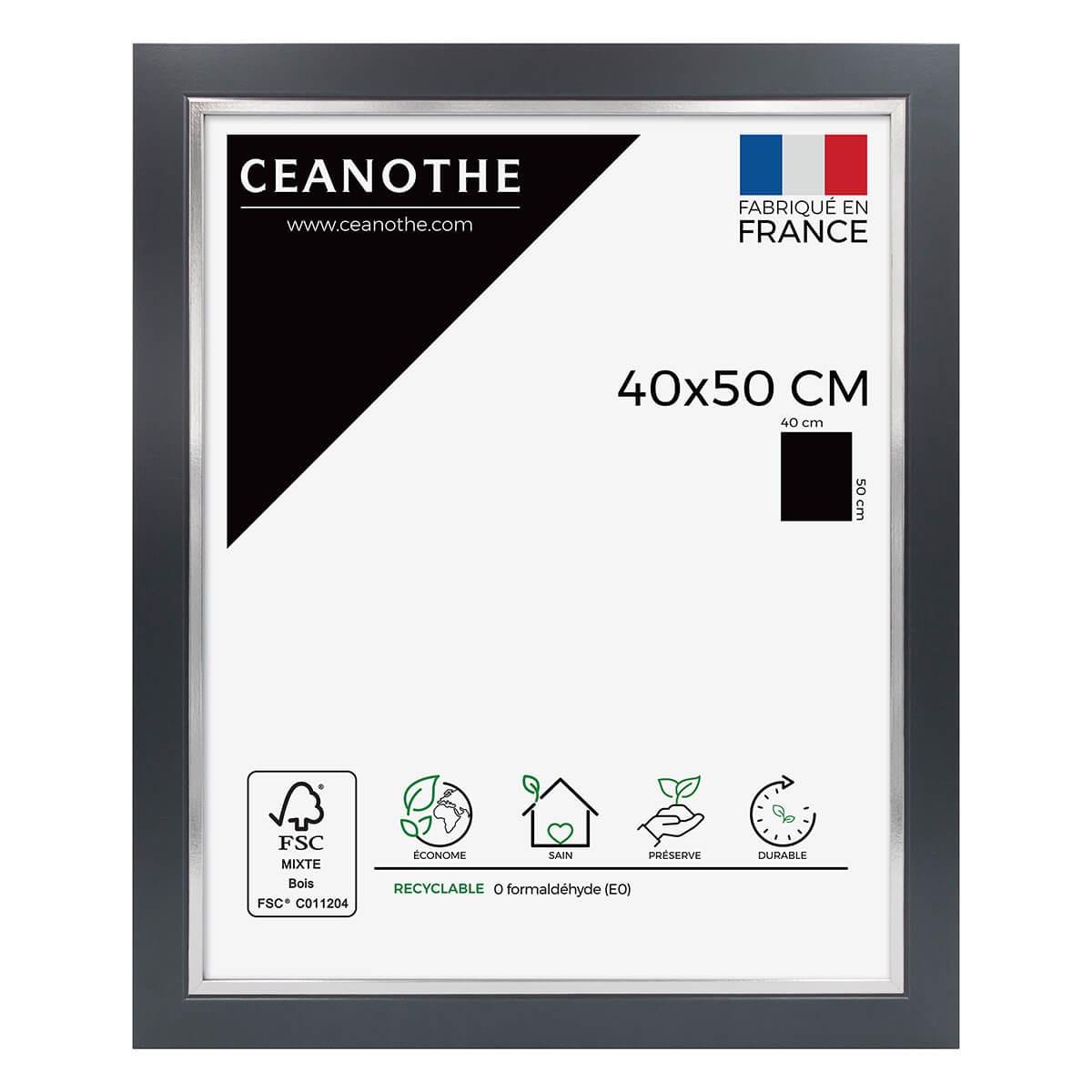 Cadre photo bois noir acier 40x50 cm