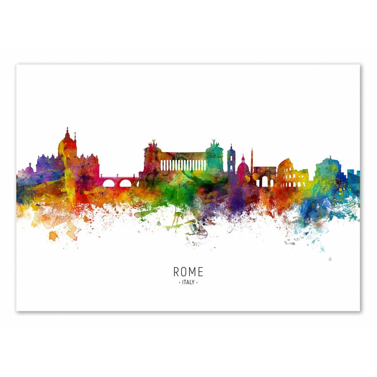 ROME SKYLINE (COLORED VERSION) - Affiche d'art 50 x 70 cm