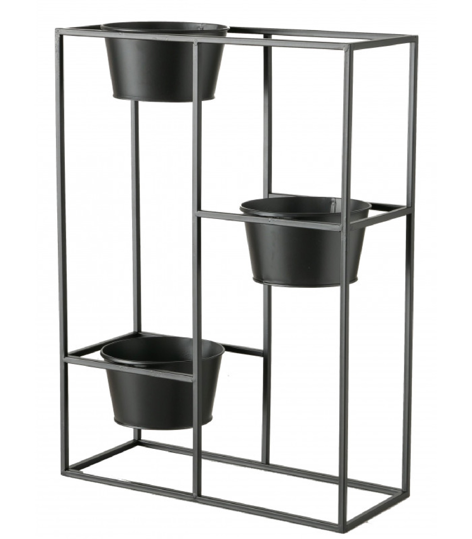 Support pots plantes étagé en métal noir