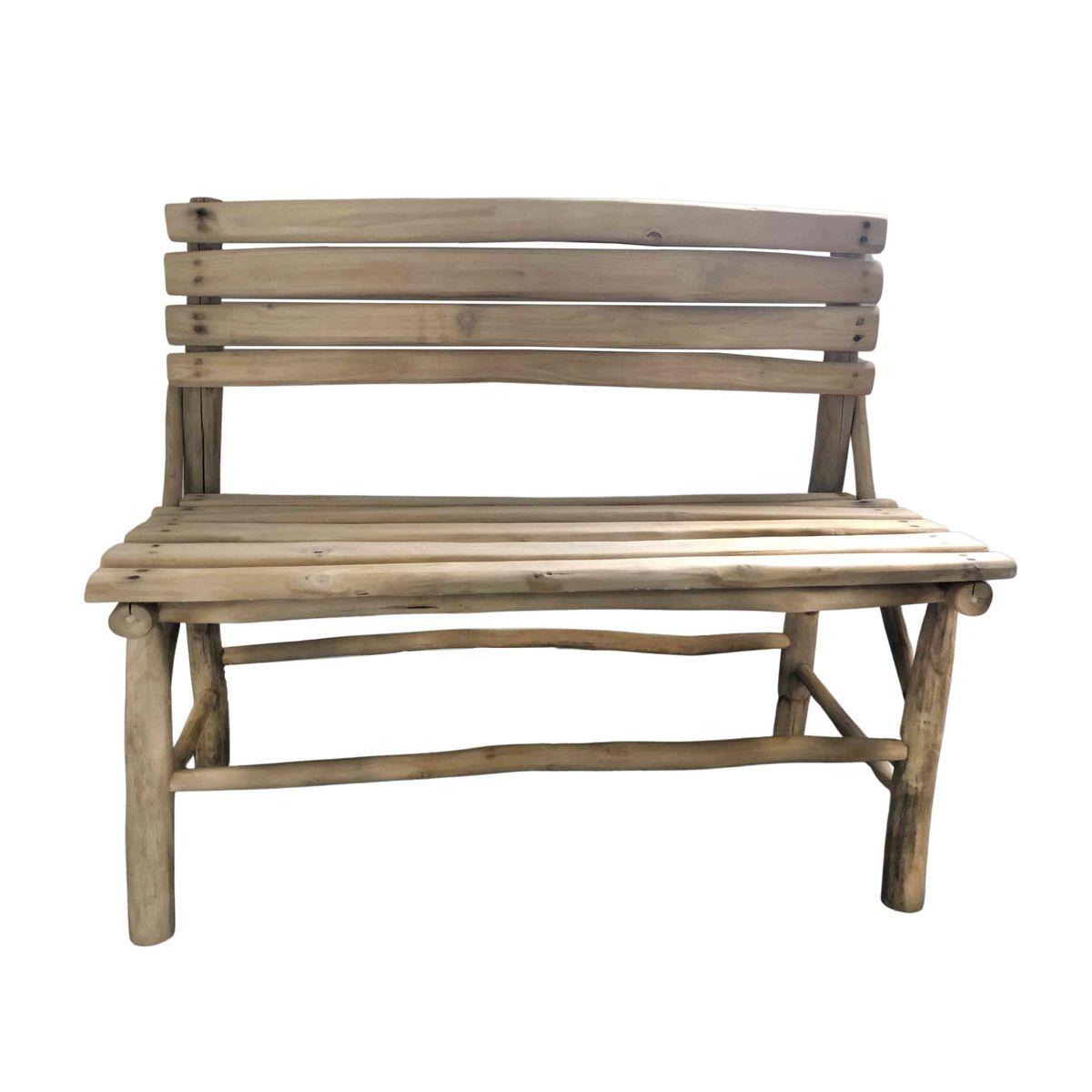 Banc en bois de teck et jonc de mer bois clair