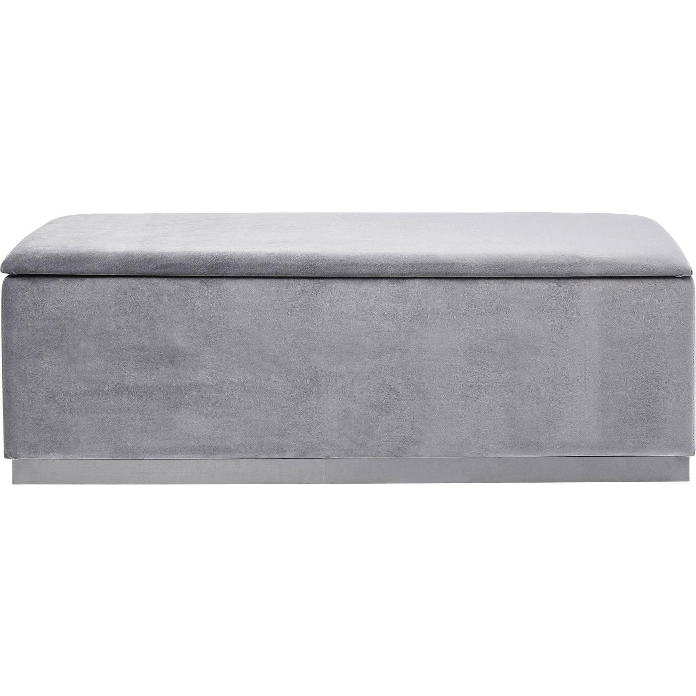 Banc 2 places velours gris et acier