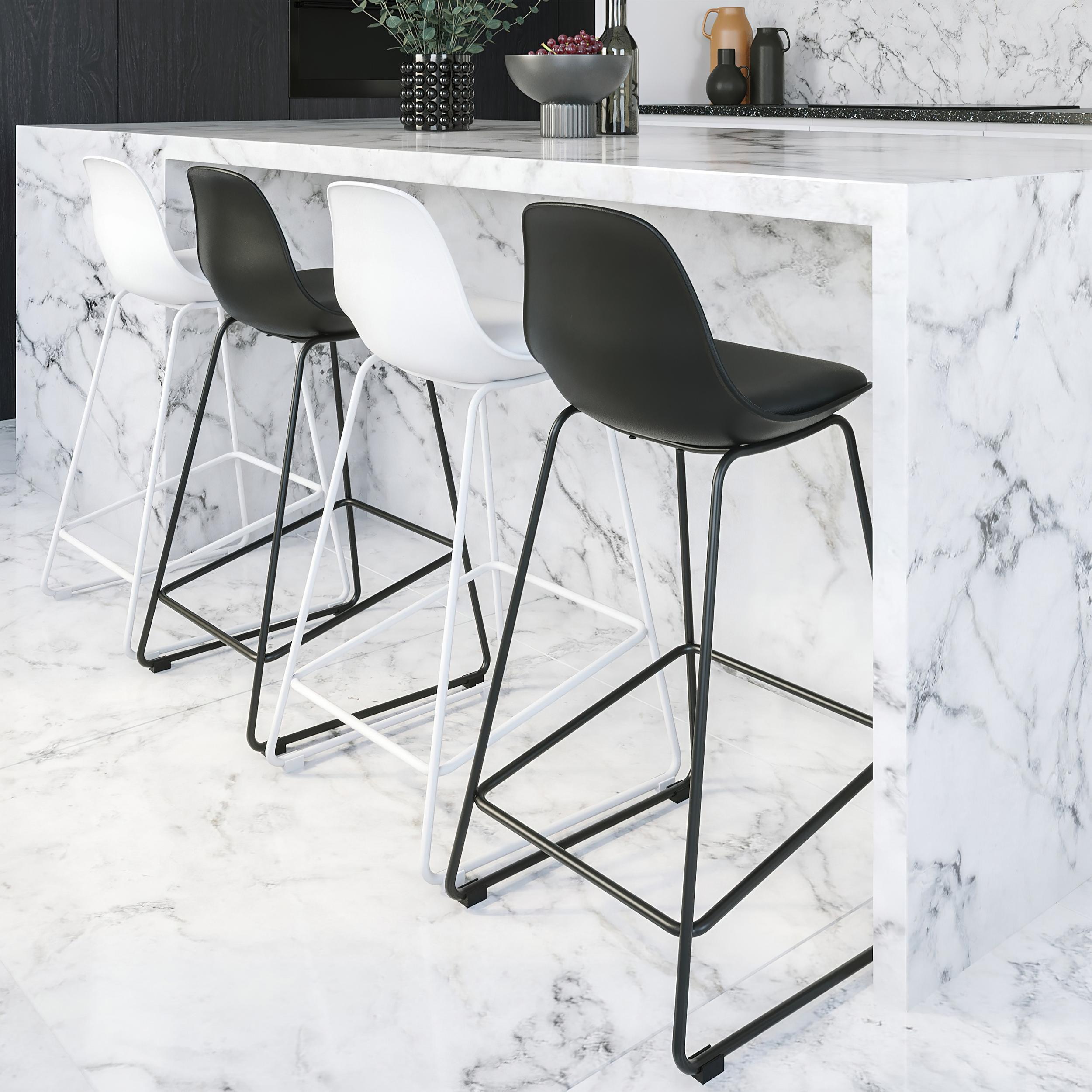 Chaise de bar blanche 65 cm (lot de 2)