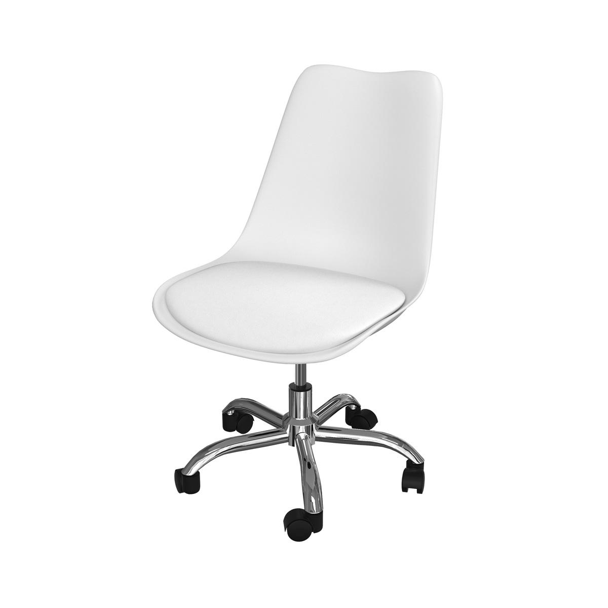 Chaise de bureau blanche sur roulette