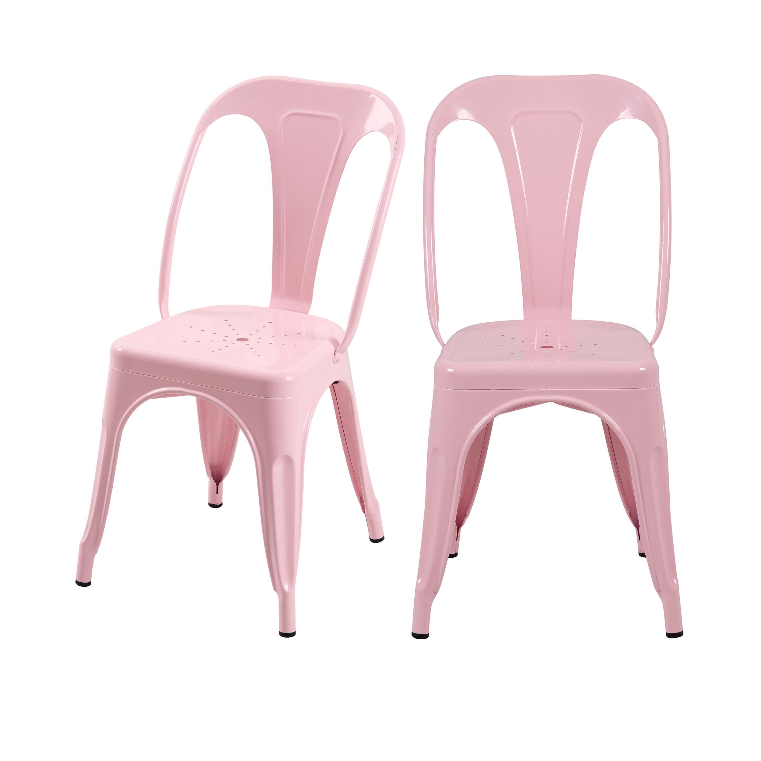 Chaise en métal rose (lot de 2)