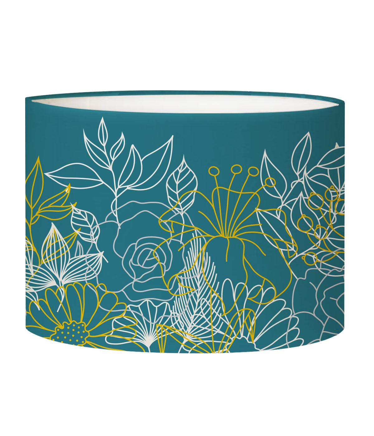 Abat-jour Lampadaire Bouquet Bleu canard D 45 x H 25