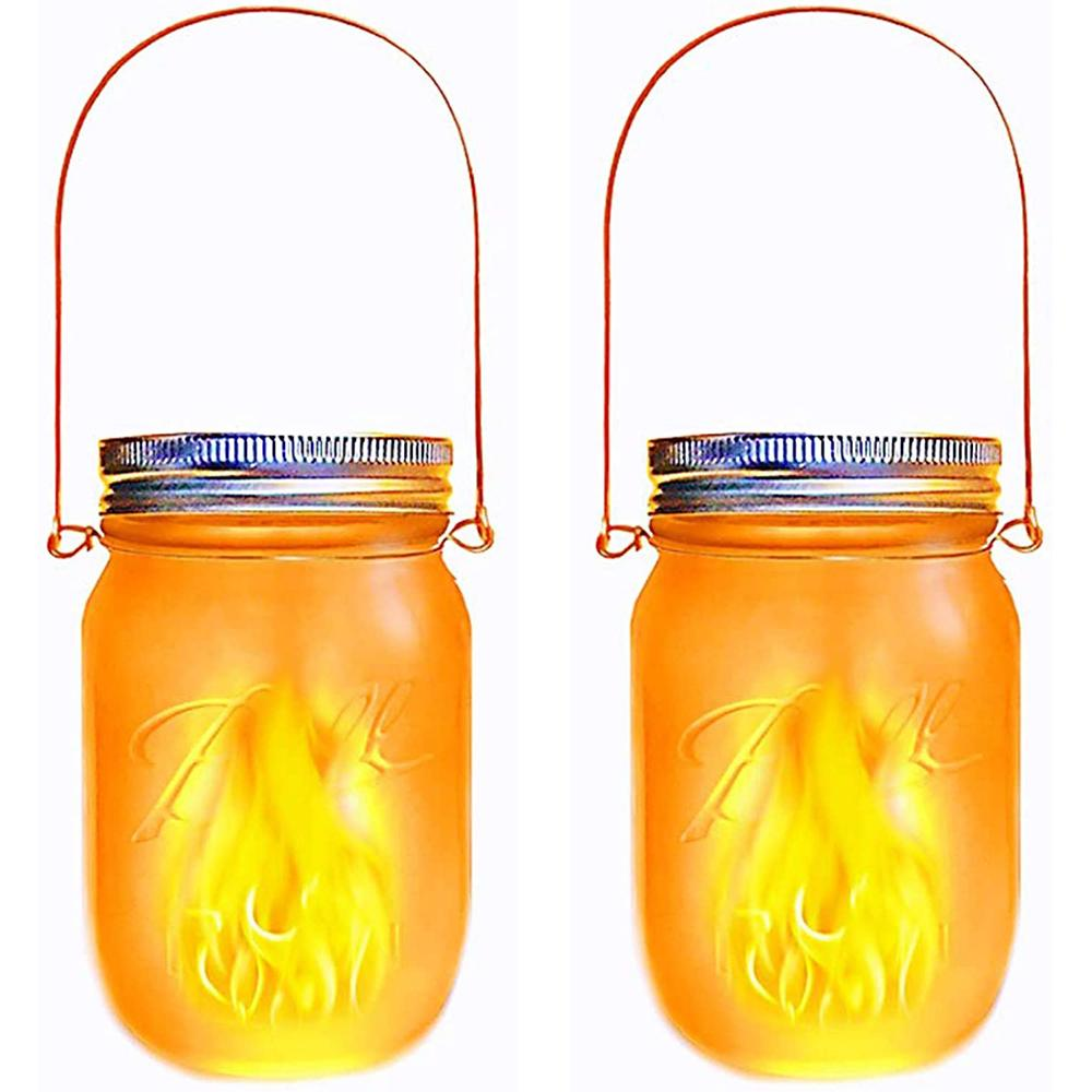 JAMY FLAME-Lot de 2 lanternes solaires verre transparent H14cm