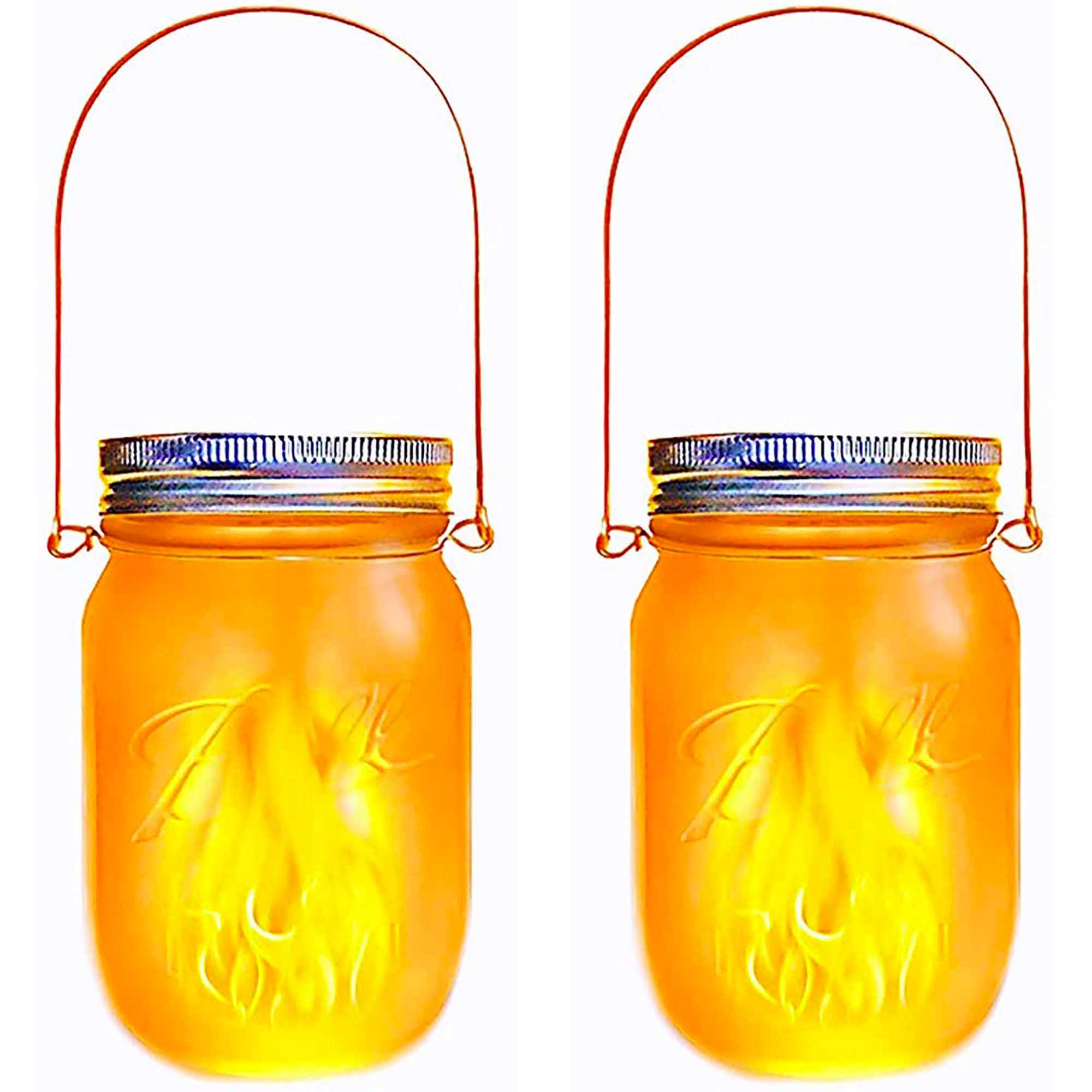 Lot de 2 lanternes solaires verre transparent H14cm