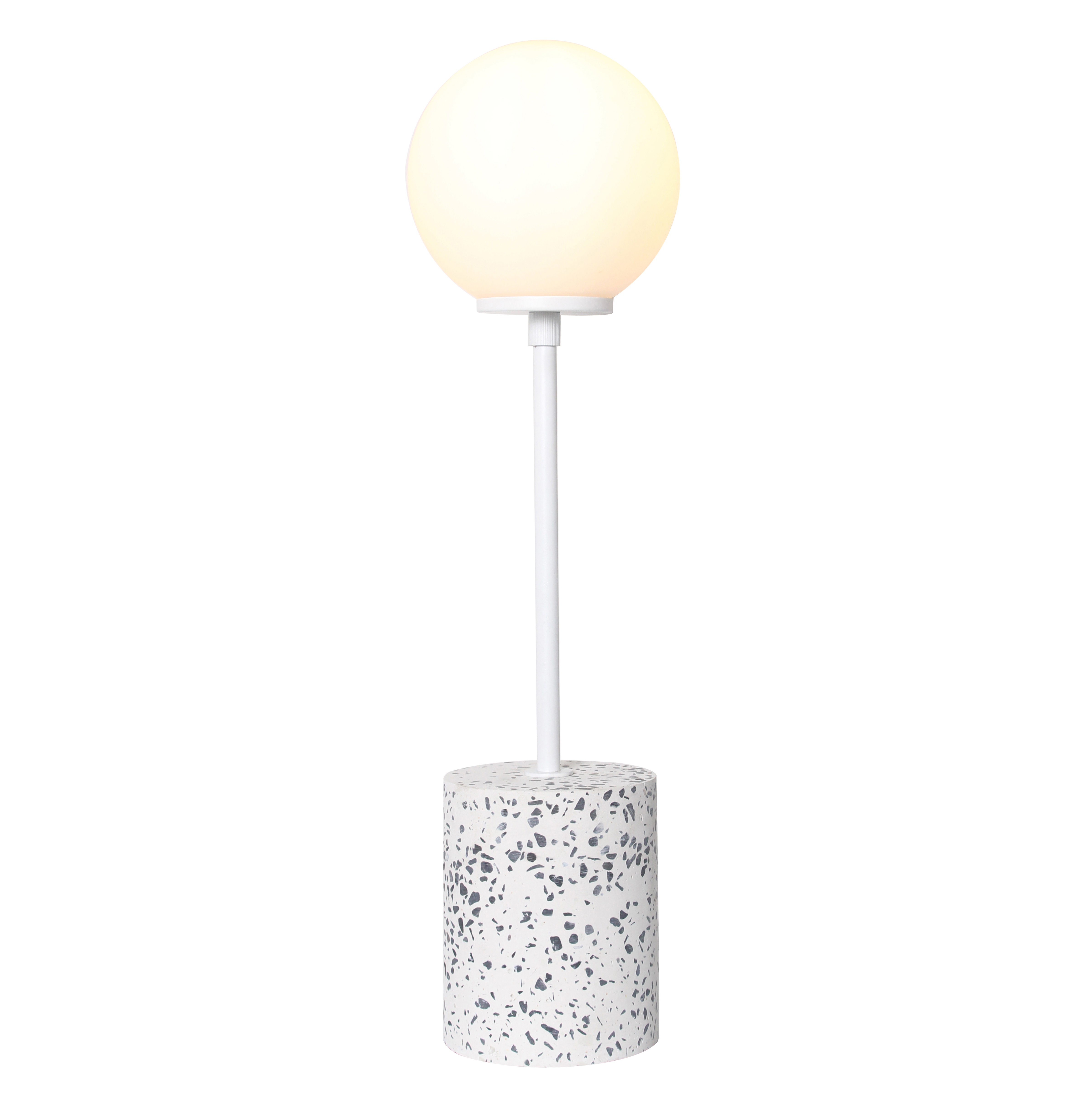 Pied de lampe en terrazzo blanc