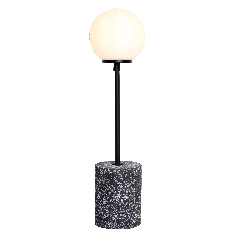 Pied de lampe en terrazzo noir