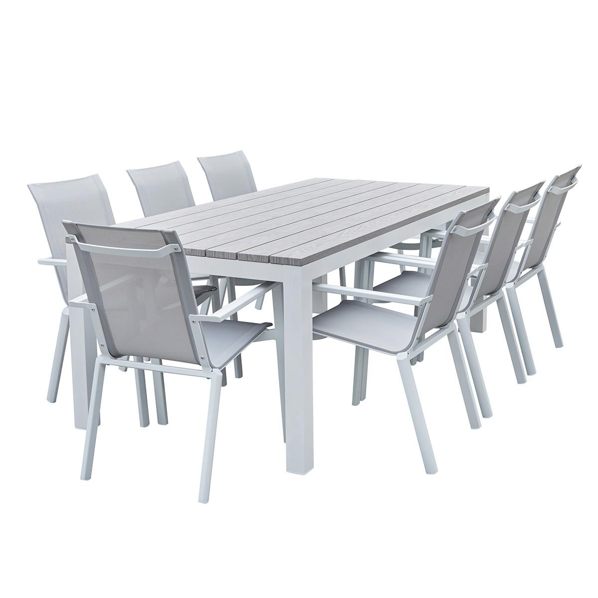 Salon de jardin aluminium blanc et textilène gris 8 personnes
