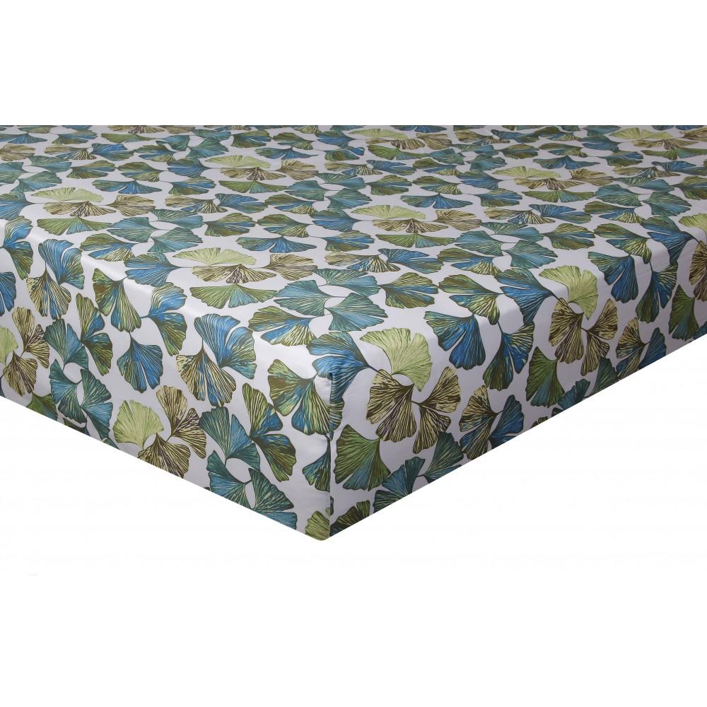 Drap housse satin de coton 160x200 cm imprime Ginkgo