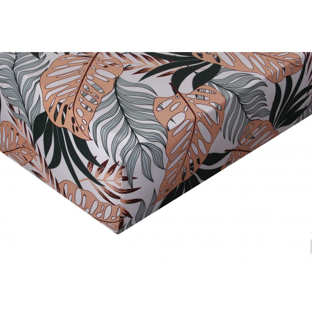 Drap housse satin de coton 160x200 cm imprime Tropical