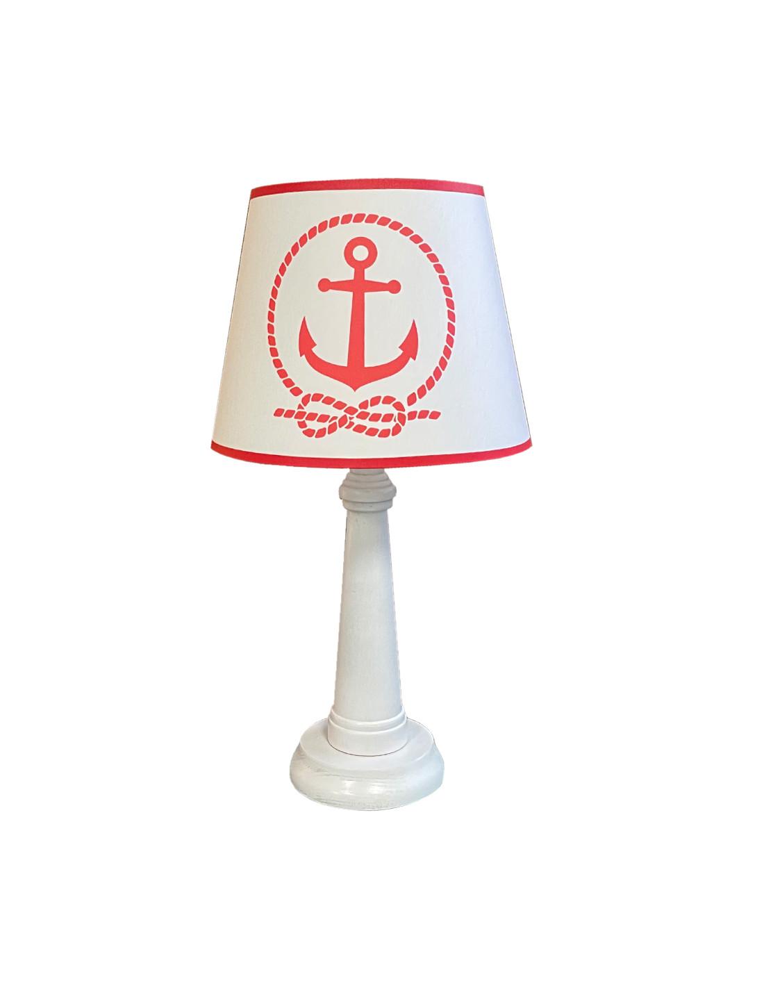 Lampe phare bord de mer rouge d 25 cm