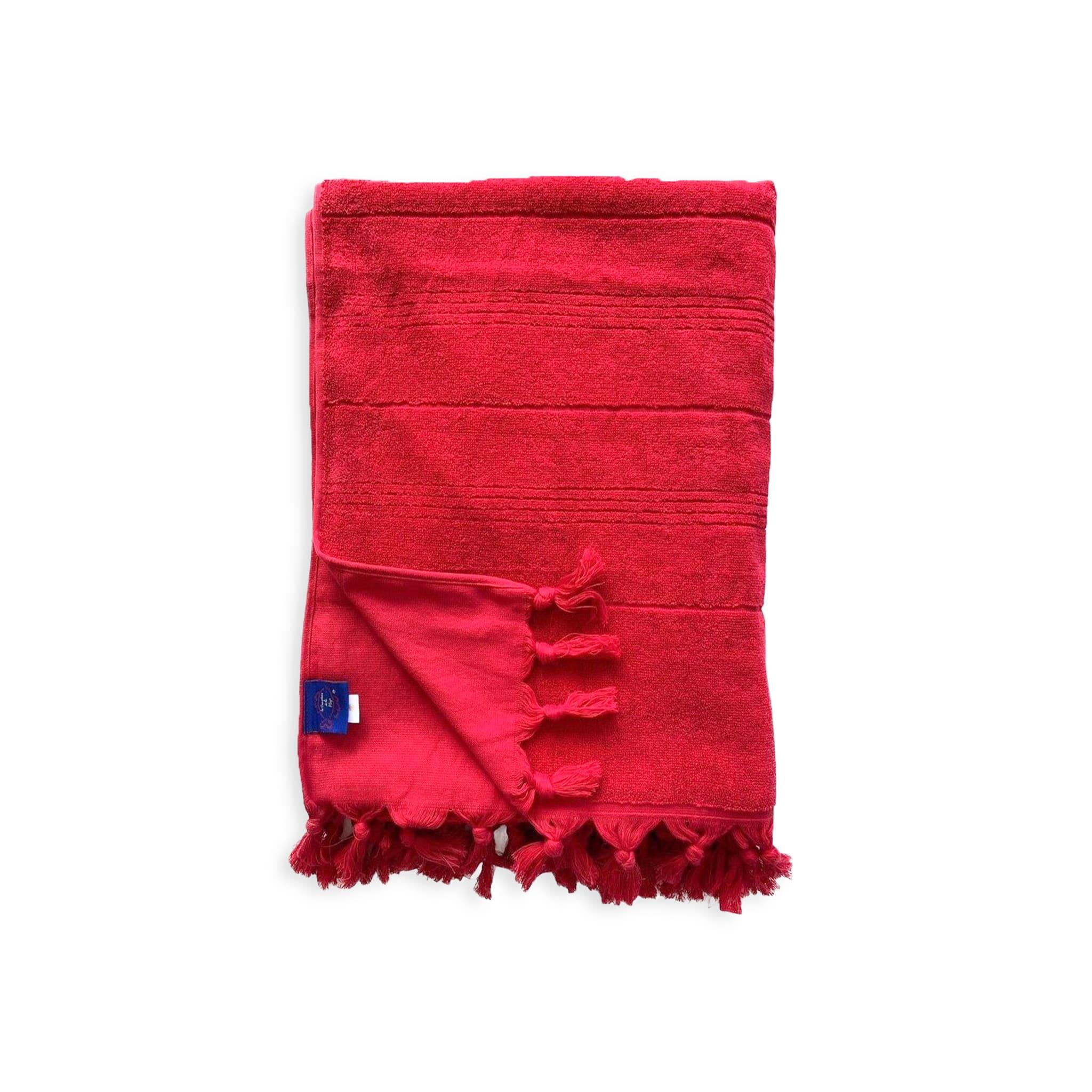 Fouta Hammam éponge bouclette rouge 150 x 180