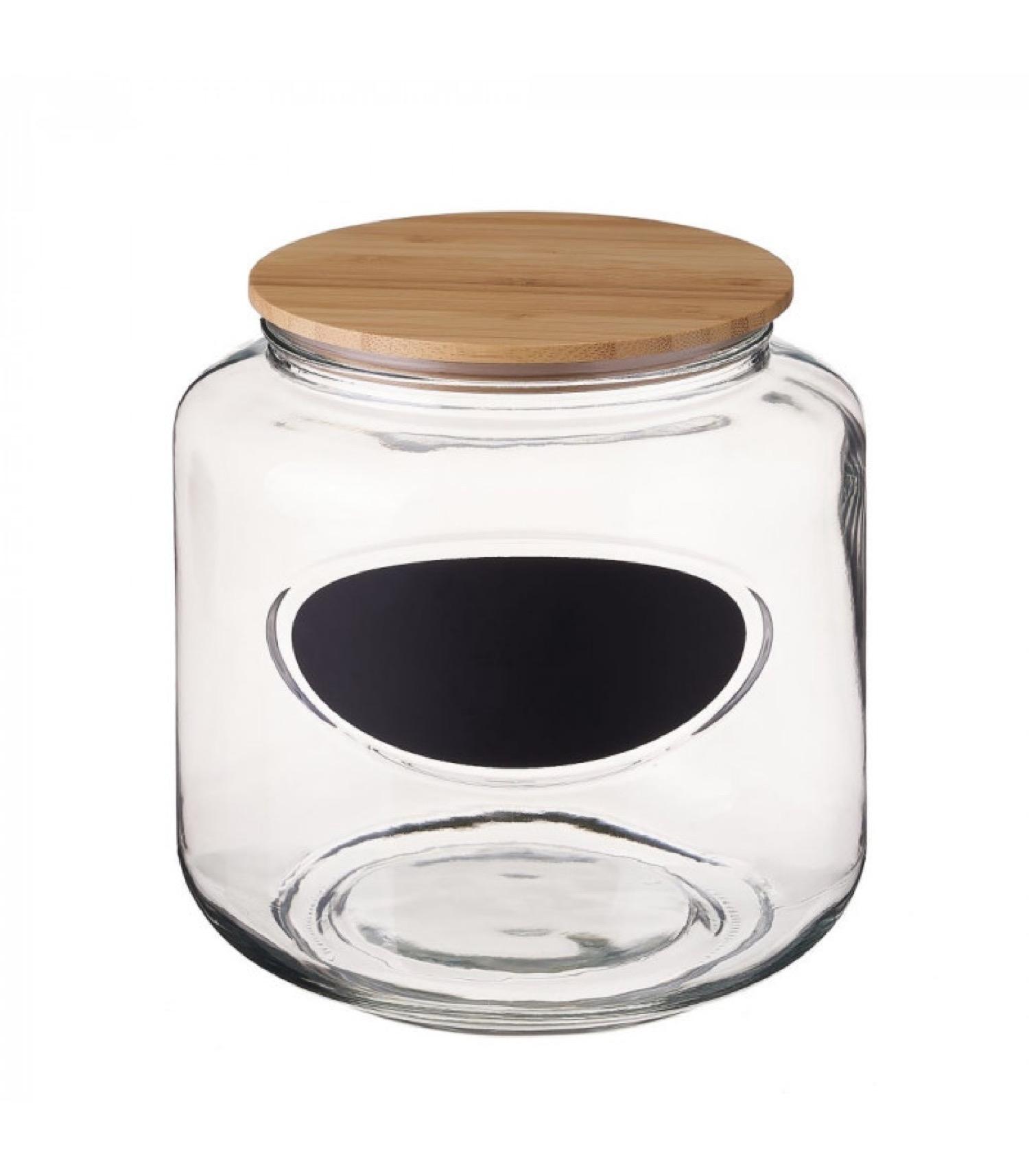 Bocal cuisine avec étiquette en verre et bouchon bambou H20,3cm