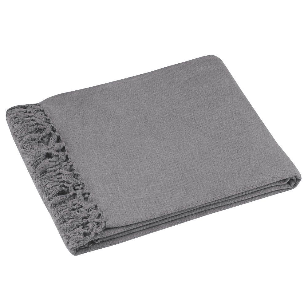 Jeté déco en coton gris 125x150