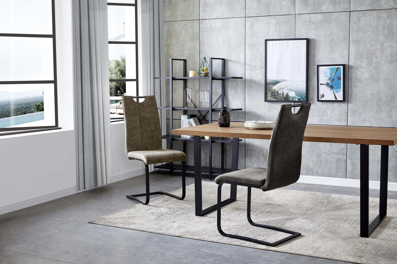 GARDNER-chaise indus microfibre ébène vintage et métal noir (x2)