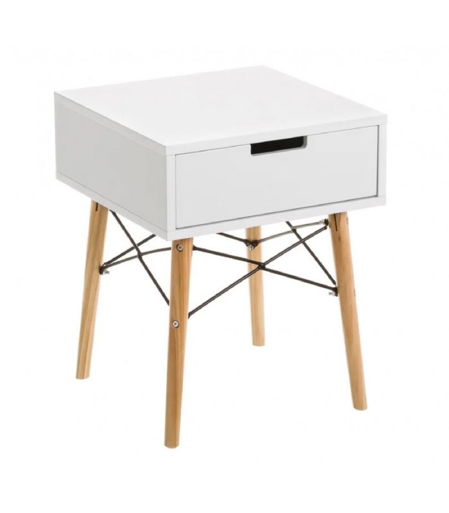 Table de chevet blanche et bois style Scandinave