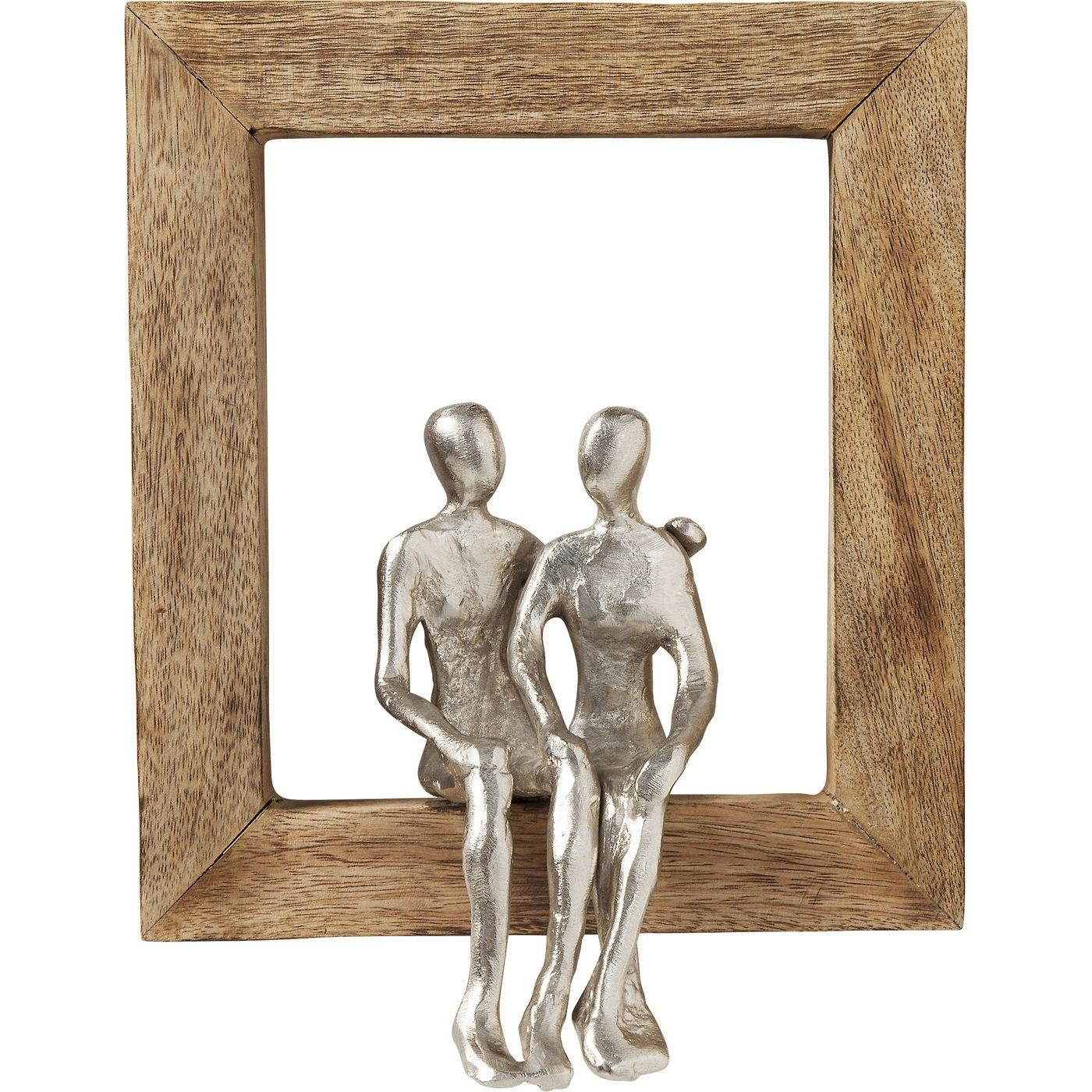 Déco murale cadre couple en bois et aluminium
