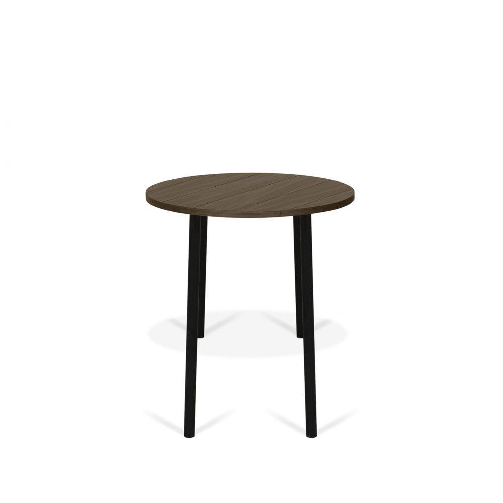 Table Basse effet bois Noyer et Métal noir