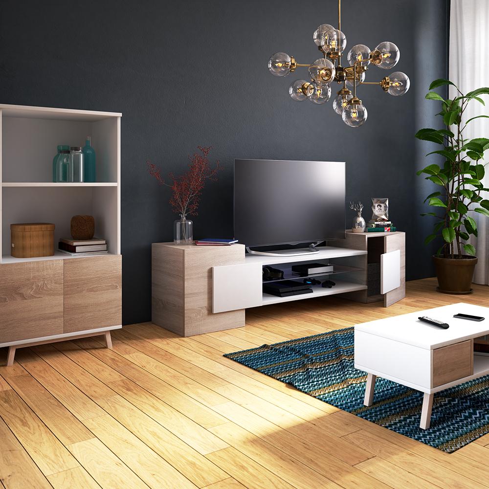 Meuble tv moderne 2 niches ouvertes 160 cm effet  chêne sonoma blanc