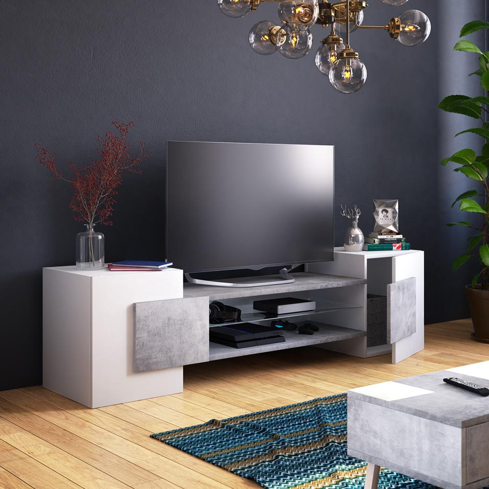 Meuble tv moderne 2 niches ouvertes 160 cm blanc effet béton