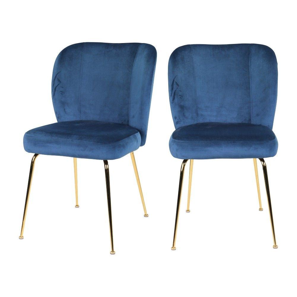Lot de 2 chaises en velours bleu et pieds en métal dorés