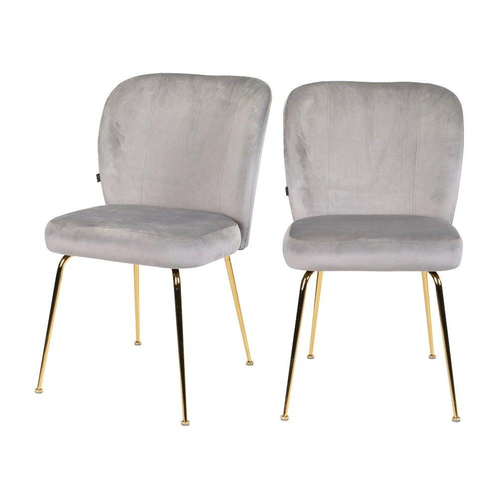 Lot de 2 chaises en velours gris et pieds en métal dorés