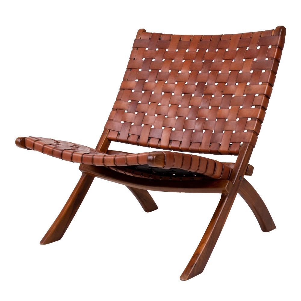 Chaise pliante en bois de teck et en cuir naturel