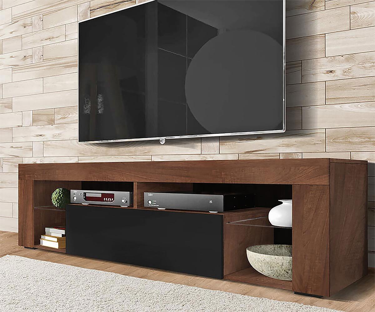 Meuble tv tablettes en verre noyer mat noir brillant
