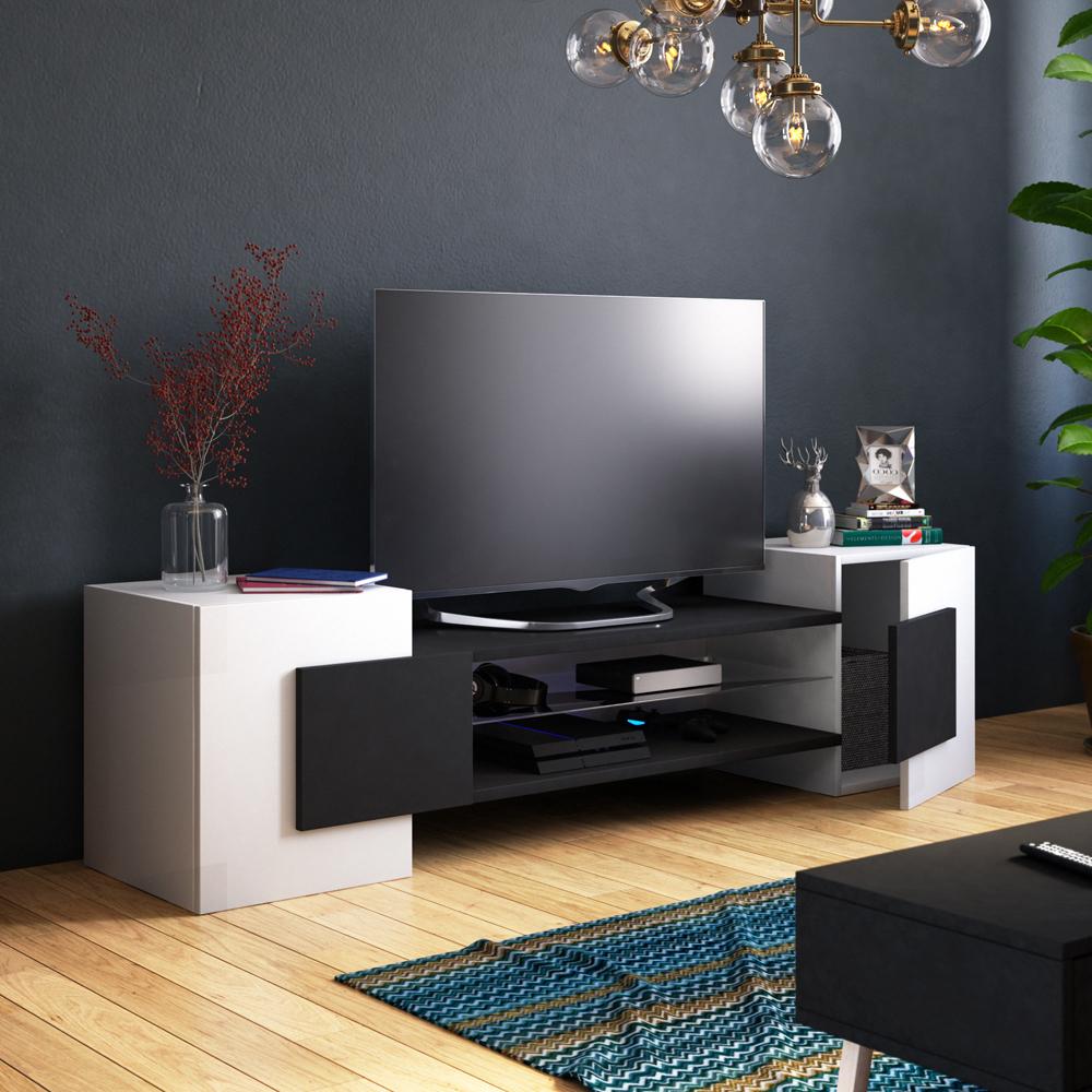 Meuble tv moderne 2 niches ouvertes 160 cm blanc noir