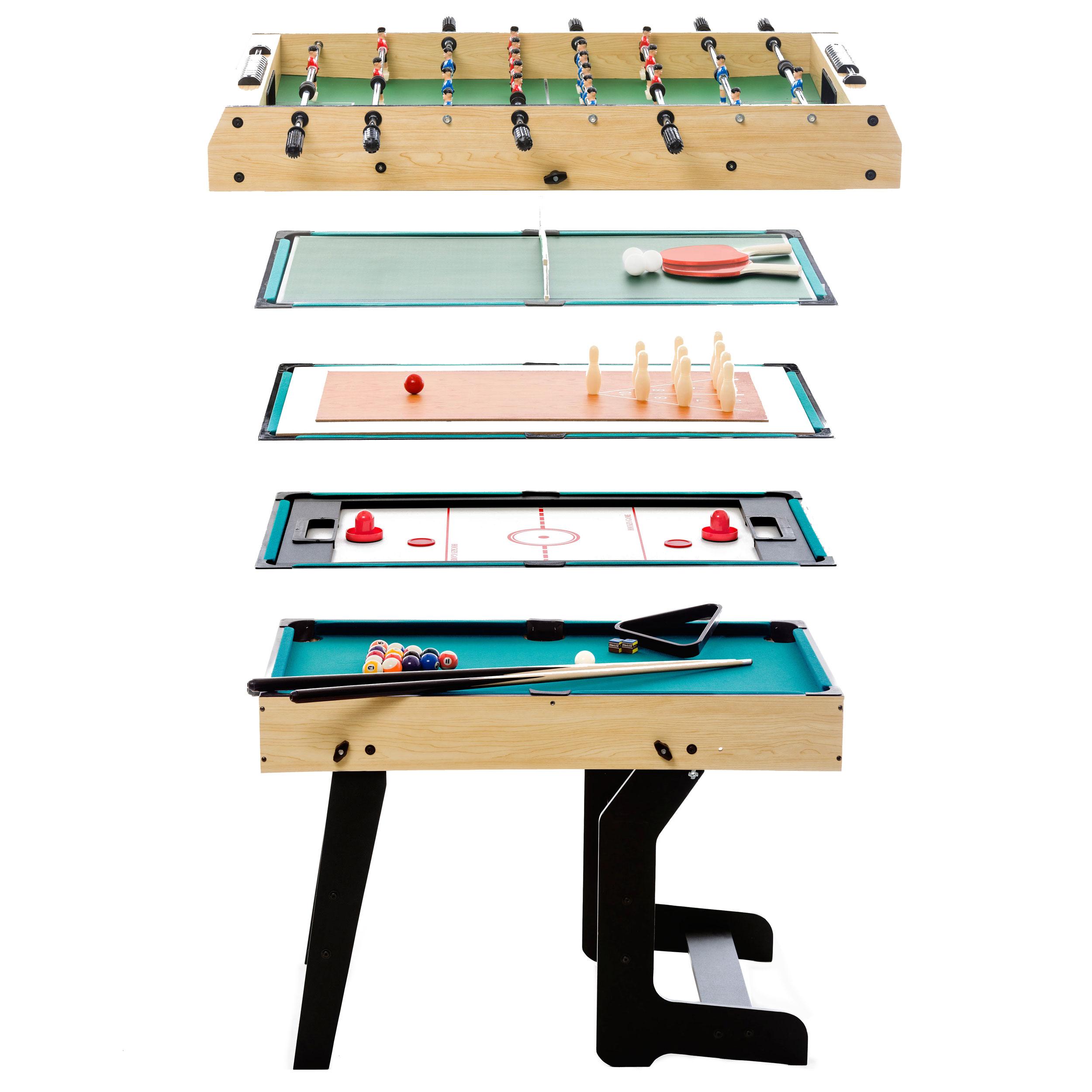 Table multi-jeux pliable panneau de fibres moyenne densité