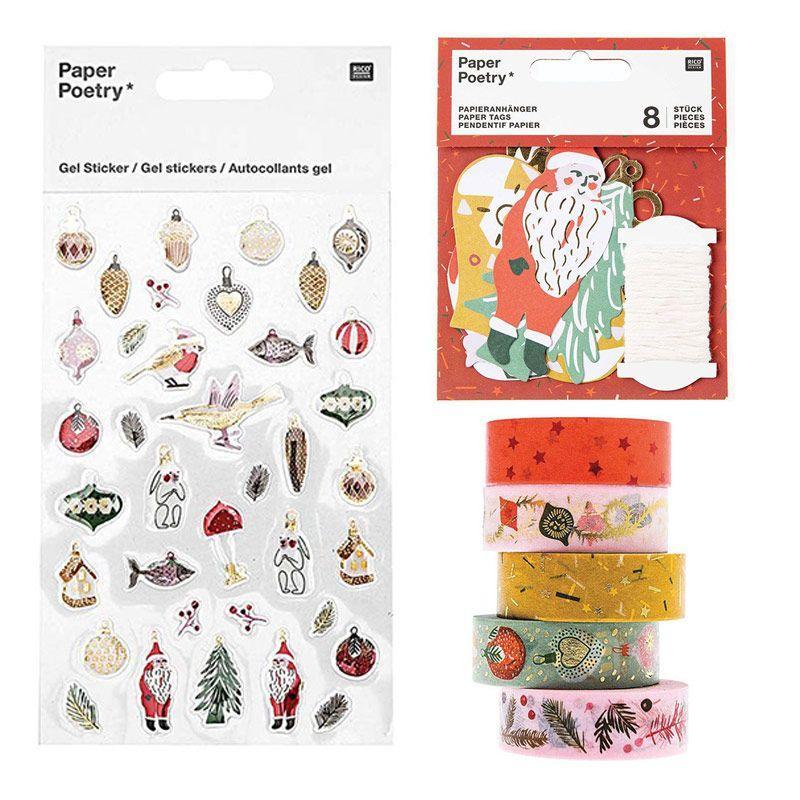 5 masking tape 10m + stickers en gel + 8 étiquettes Noël