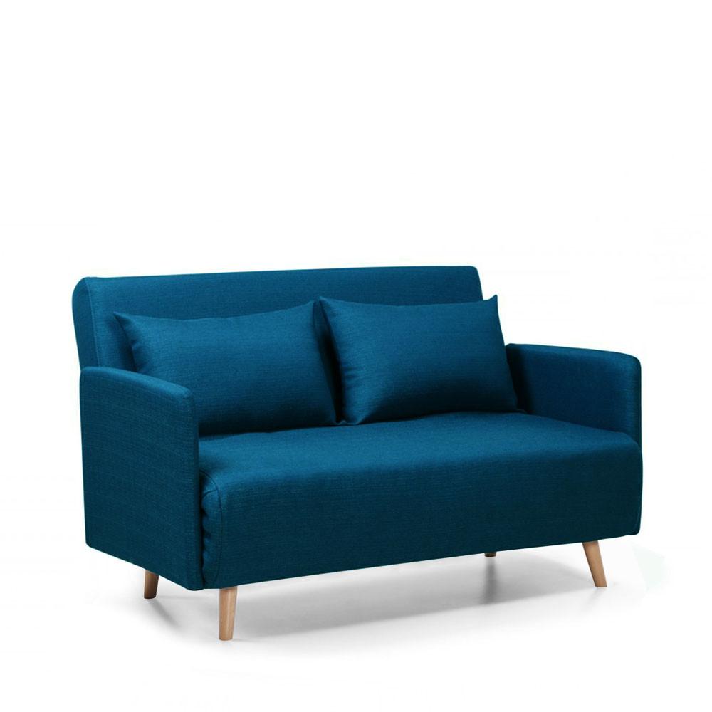 Canapé droit 2 places Bleu Tissu Pas cher Design Confort