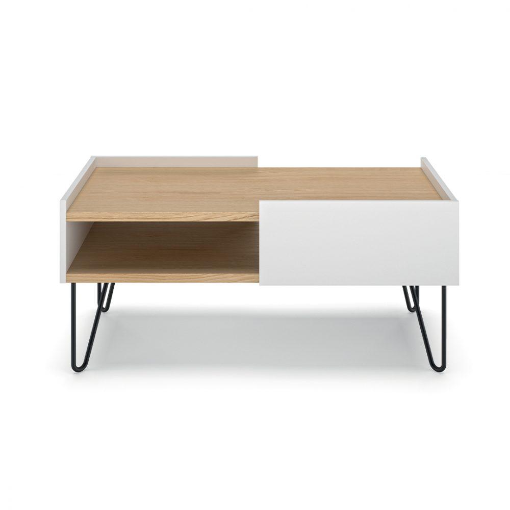 Table Basse effet bois Chêne et blanc