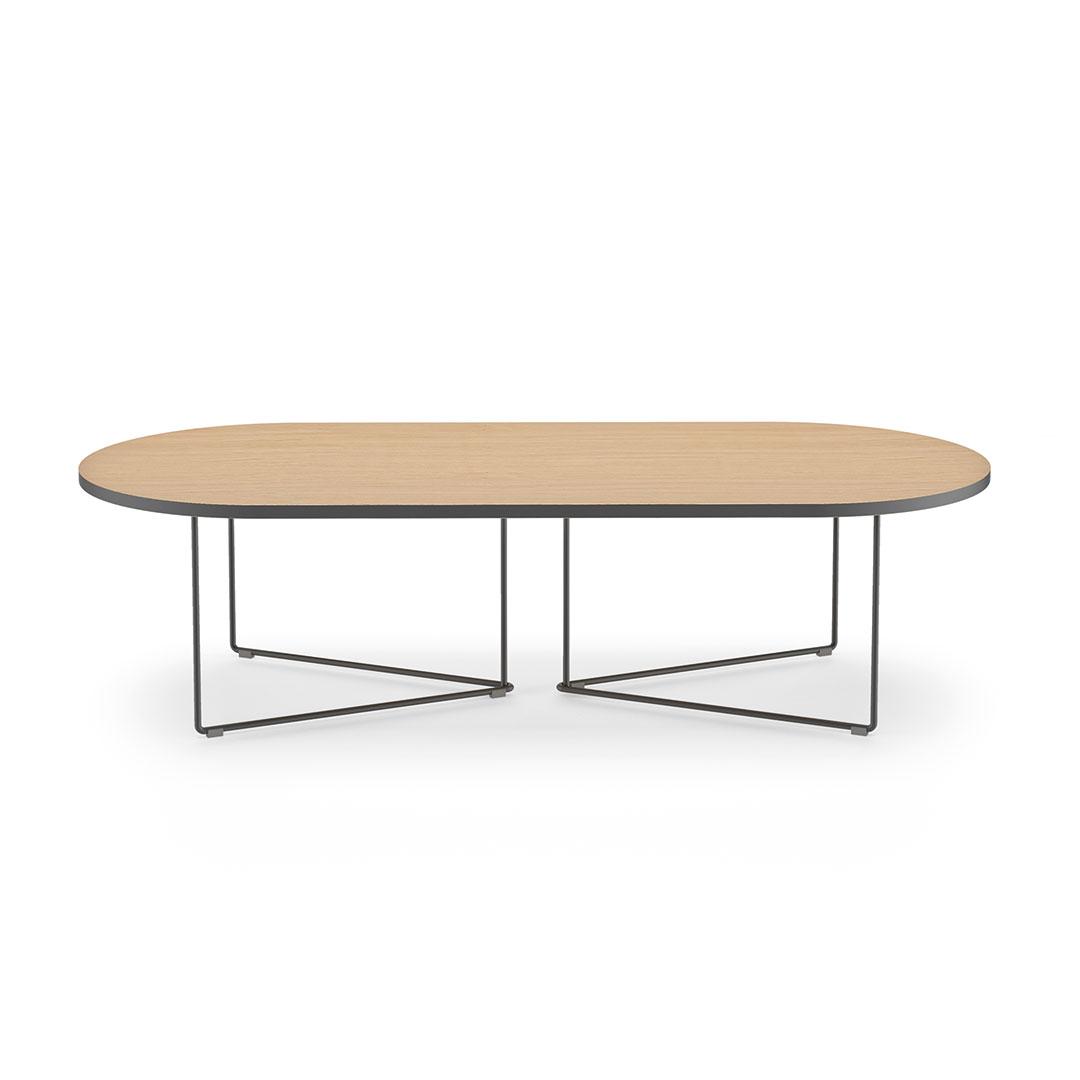 Table Basse effet bois Chêne et Métal noir