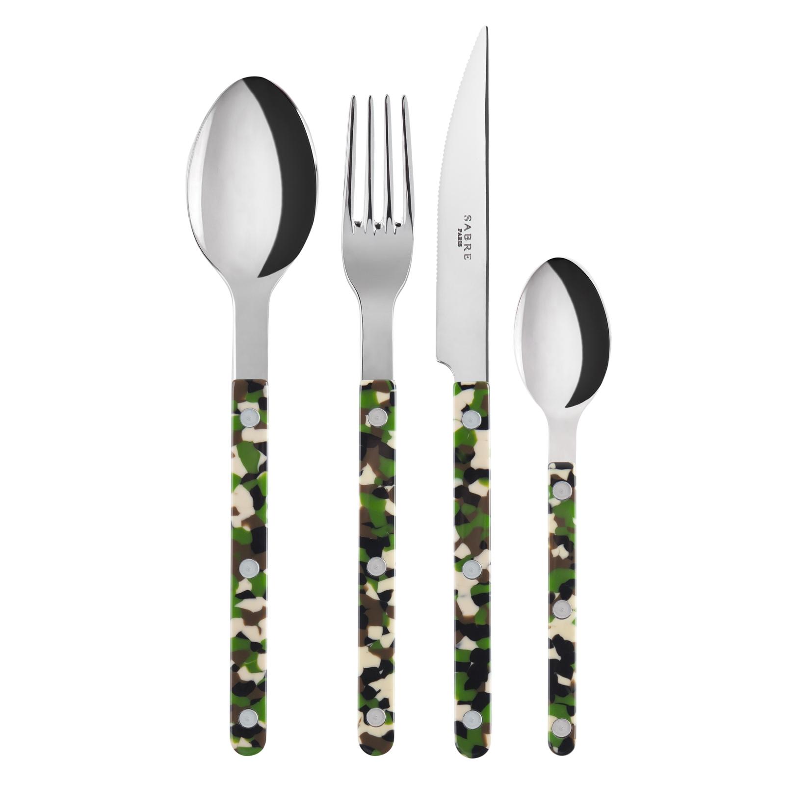 Ménagère 24 couverts camouflage vert