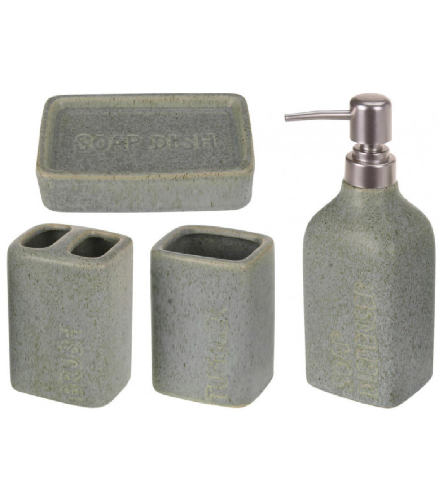 Set salle de bain vert céramique 4 pièces