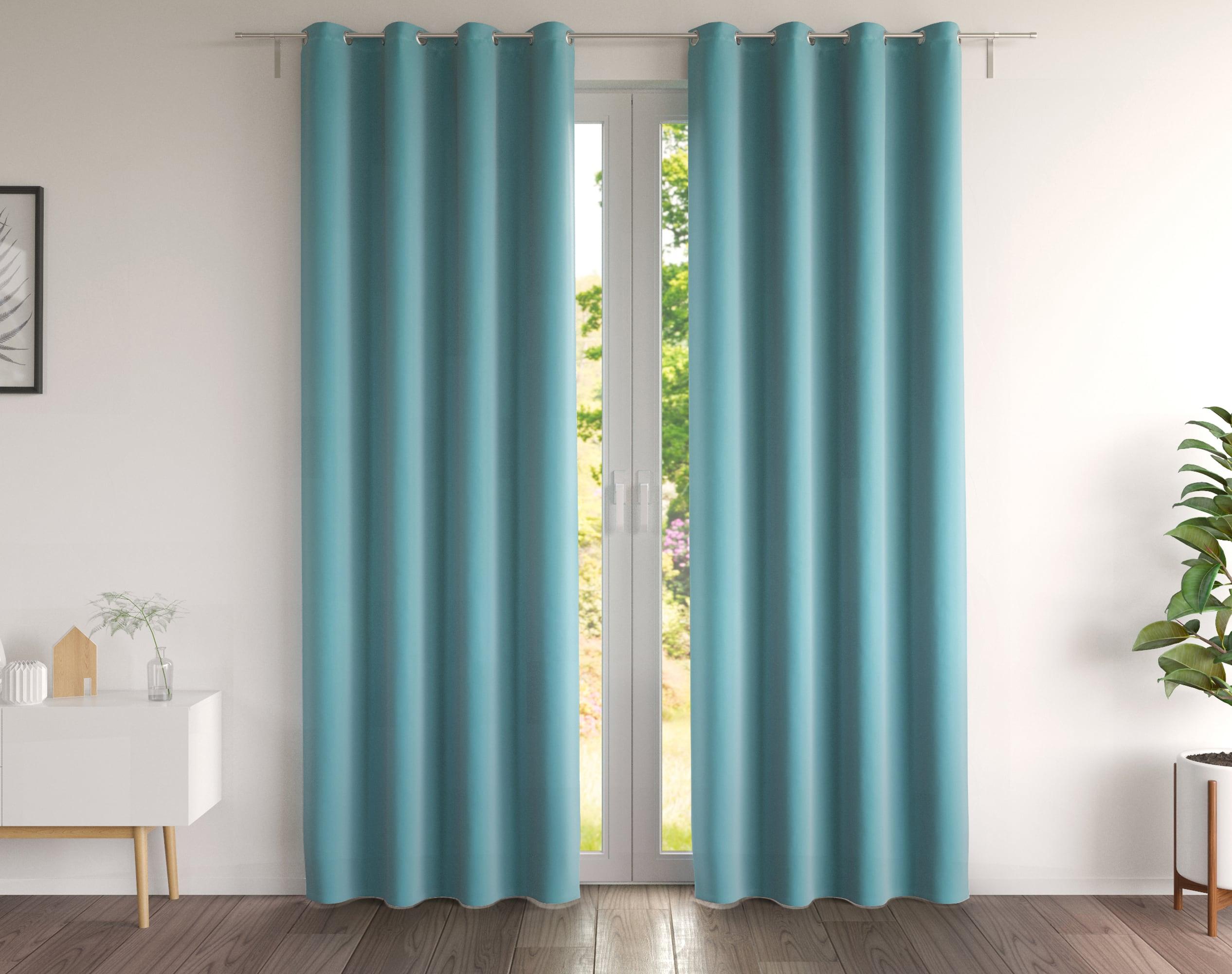Paire de rideaux bleu orage 135x180 en coton